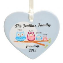 Owl Family Ceramic Heart - Personalised Christmas Tree Decoration